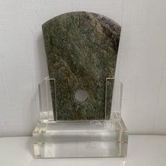 Antique Jade Stone Ax in Custom Lucite Stand