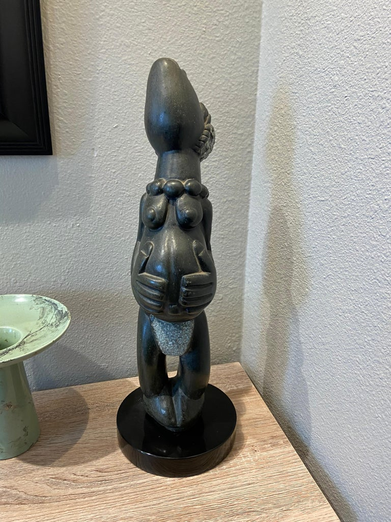 Joyful African Stone Carving - Contemporary Sculpture by Unknown