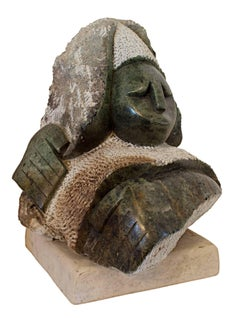 """Judge,"" Original Green Serpentine Stone Sculpture by Corlet a Shona sculptor"