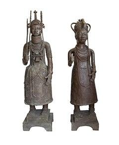 """King & Queen, Benin Kingdom Nigeria,"" Bronze Statues created circa 1900"