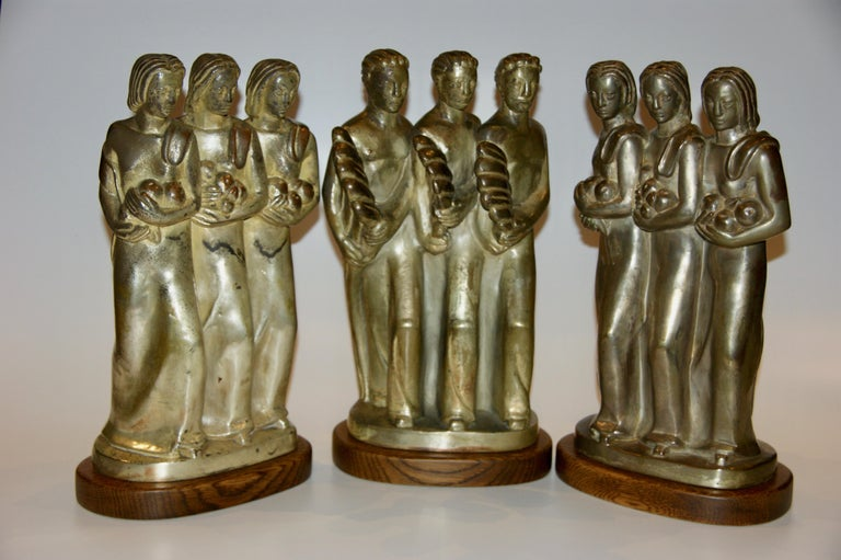 Kupur Three American Art Deco Sculptures Male Female Figurative Modernism WPA - Gray Figurative Sculpture by Unknown