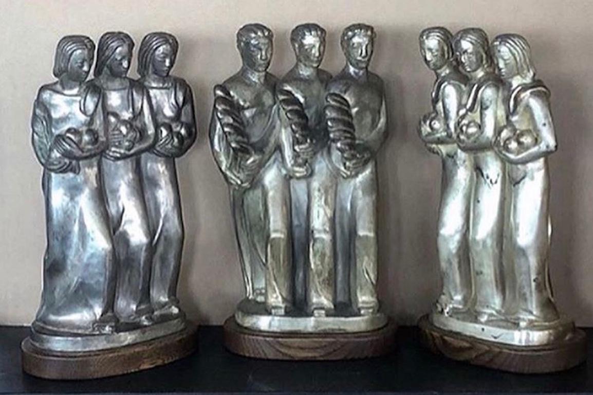 Kupur Three American Art Deco Sculptures Male Female Figurative Modernism WPA