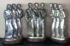 Kupur Three American Art Deco Sculptures Male Female Figurative Modernism WPA