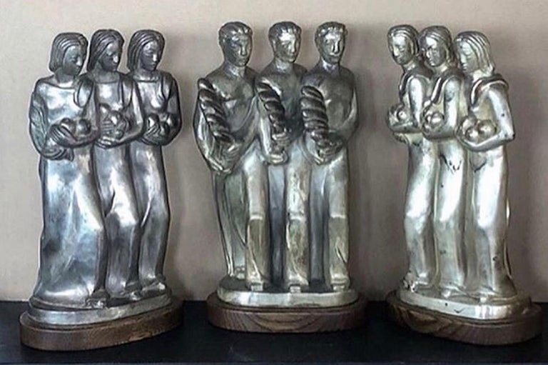 Unknown Figurative Sculpture - Kupur Three American Art Deco Sculptures Male Female Figurative Modernism WPA