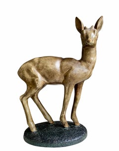 Large 1920s Doe sculpture - Bronze Plaster Animal Sculpture