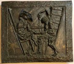 Large Bronze Bas Relief Danse Macabre Expressionist Sculpture Totentantz