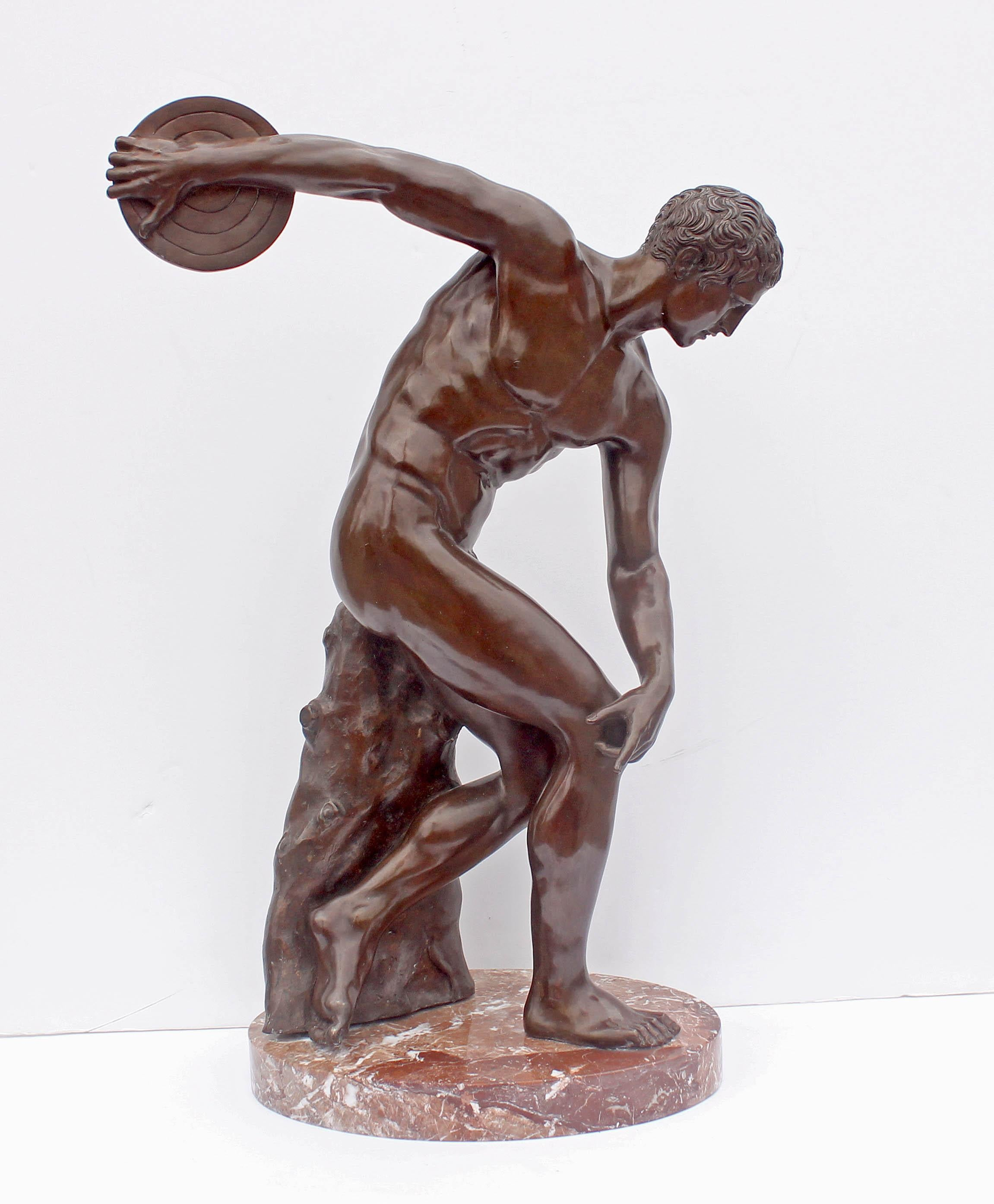 """Large Bronze Sculpture """"The Discus Thrower"""" Grand Tour"""