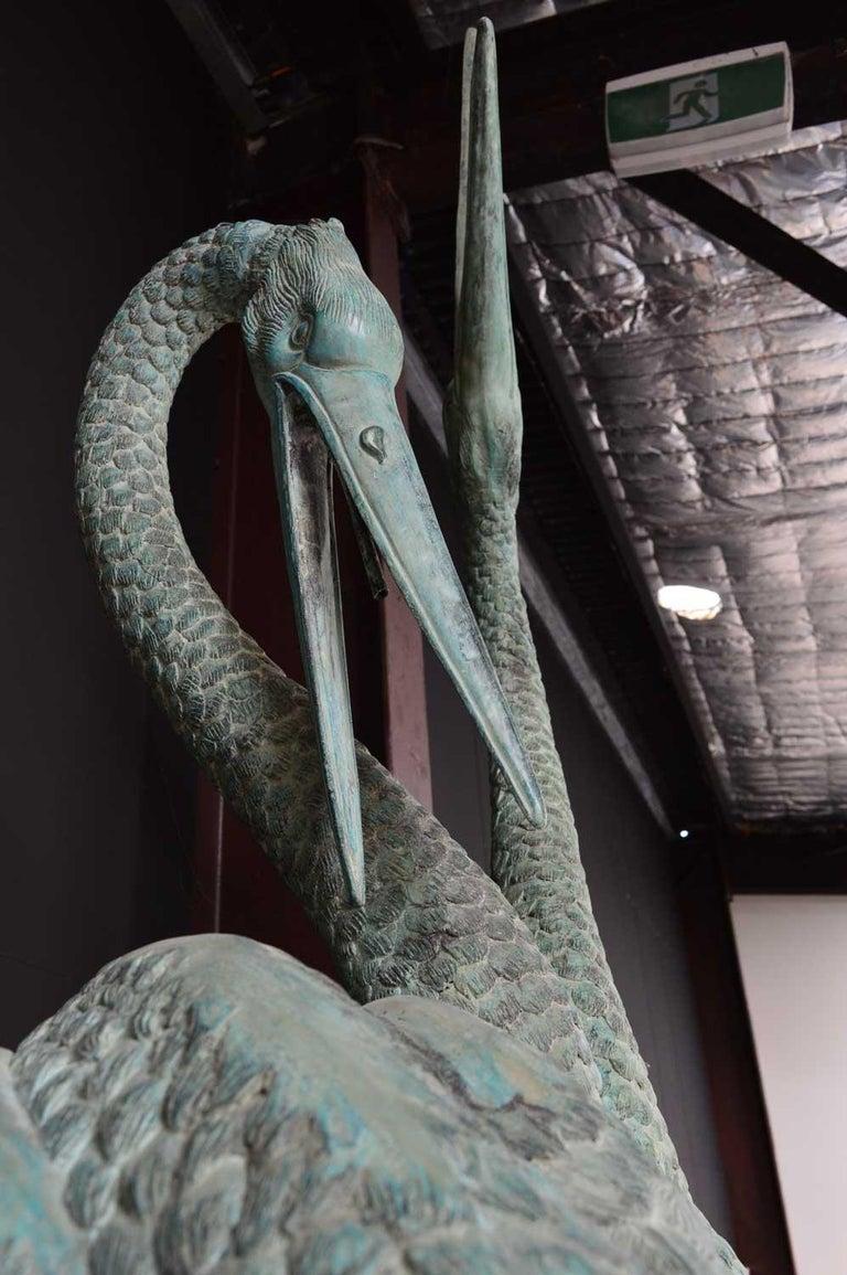 Large bronze verdigris cranes water feature For Sale 2