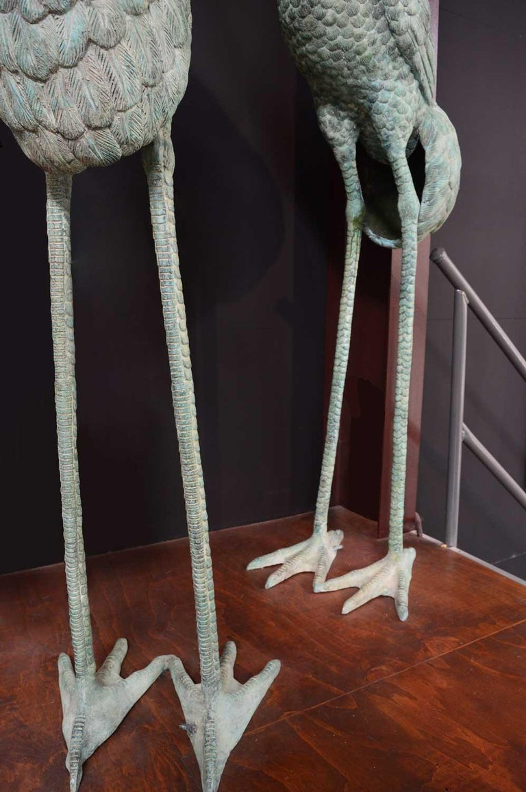 Large bronze verdigris cranes water feature For Sale 4