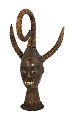 """Large Head with Horns - Nigerian, Ekoi People,"" Carved Wood created circa 1950"