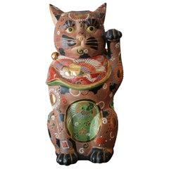 Large Kutani Maneki Neko Hand Painted Lucky Cat
