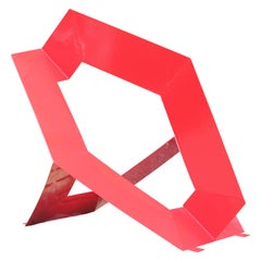 Large Red Steel Outdoor Modern Geometric Abstract