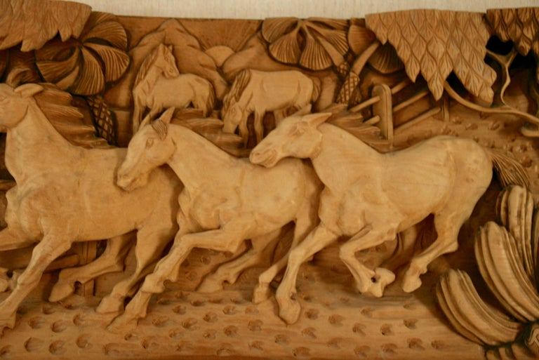 #9-500 A Large Scale  of Western Wood Sculpture ,a fine wood sculpture of  horses in a western  ranch,signed lower right by Dede '88
