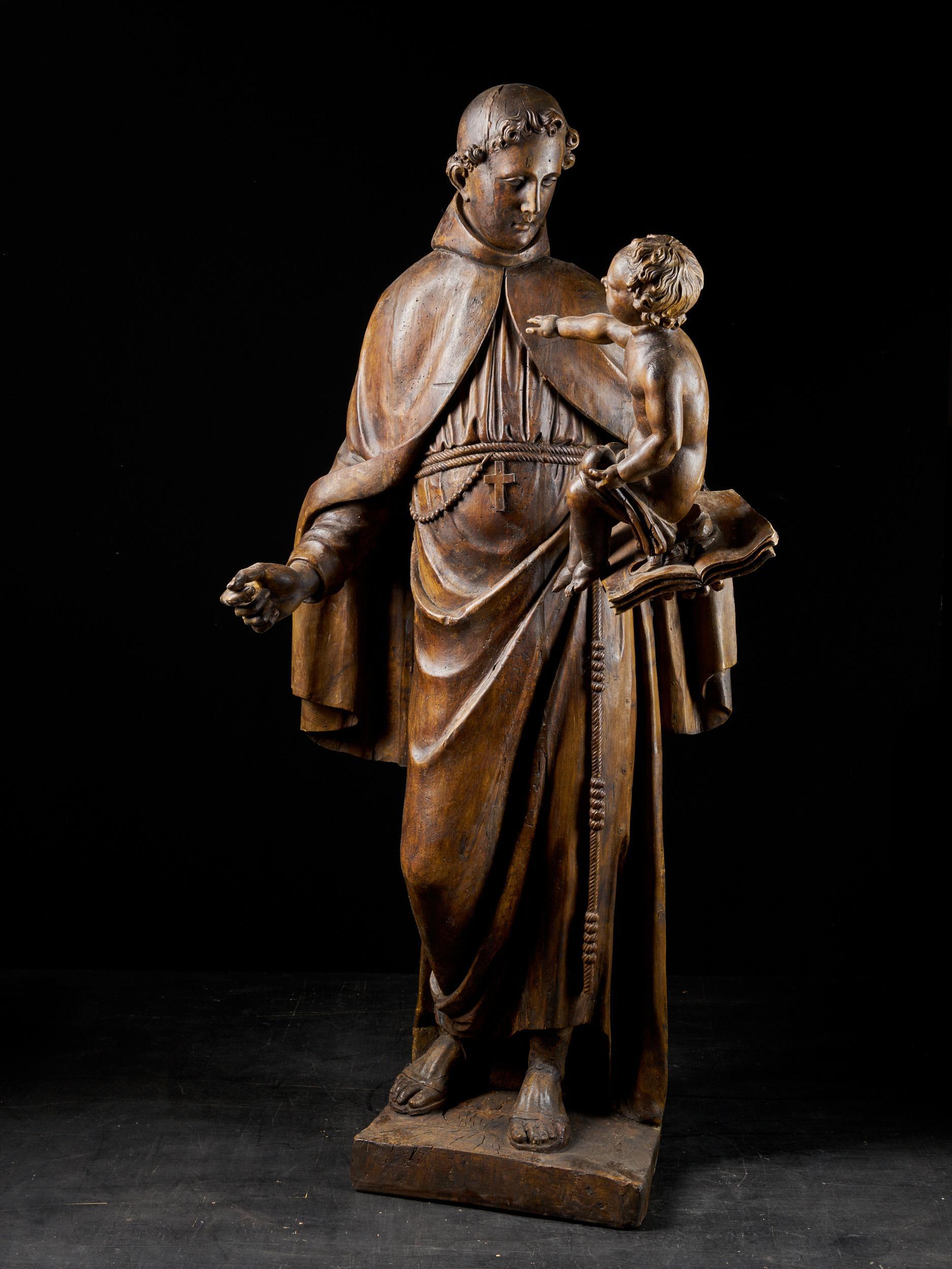 Late 17th C, Baroque, Saint, Italian School, Wooden Sculpture of Saint Anthony