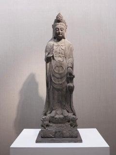 Late Tang 10th-century Bodhisattva limestone Chinese Buddhist sculpture