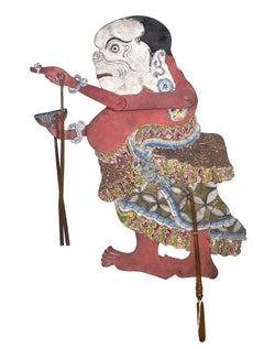 """""""Flat Wooden Puppet (Woman with Comb & White Face) Wayang Klitik,"""" Leather"""