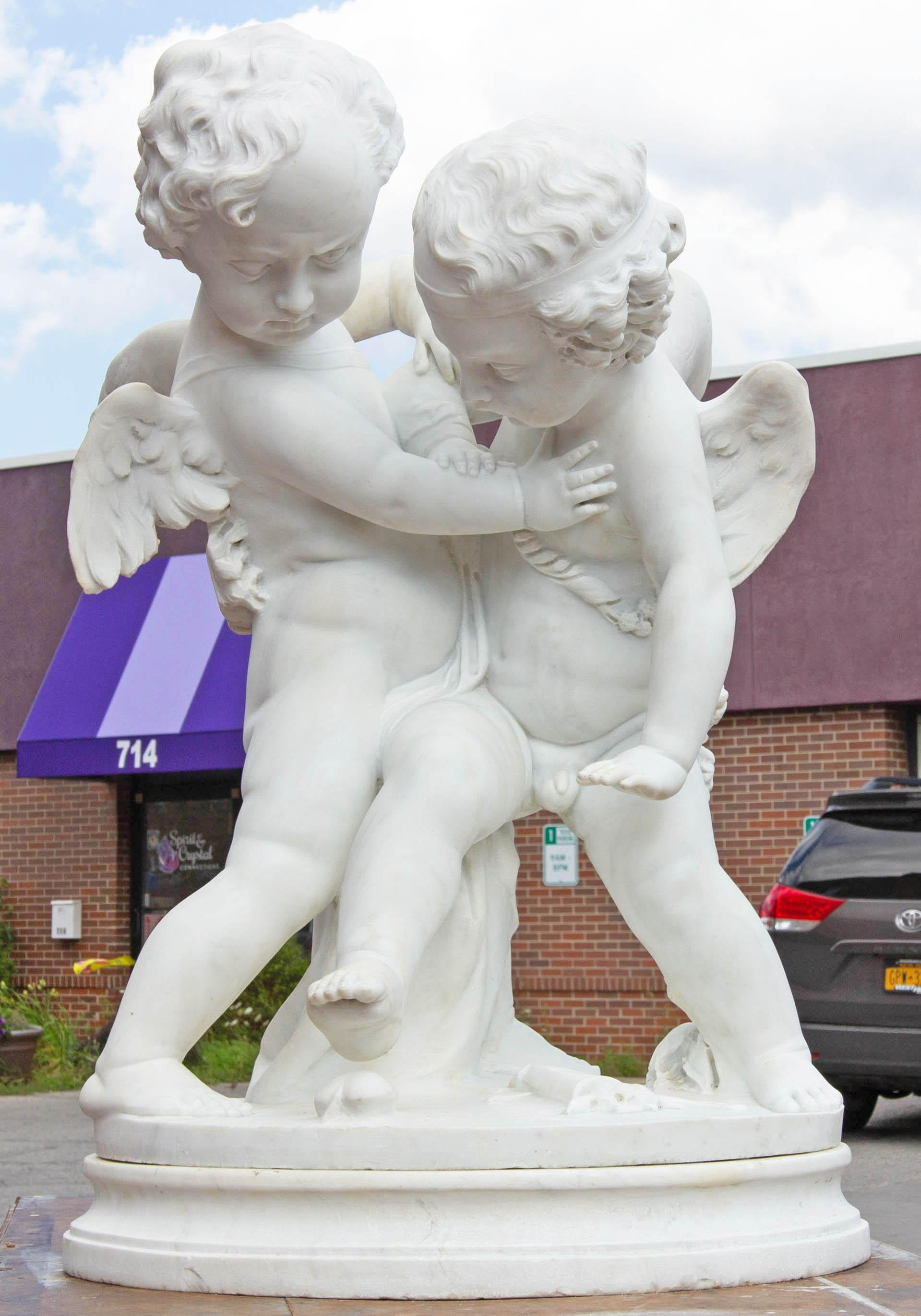 """Life-Size Marble of Eros and Anteros """"Two Loves Fighting for a Heart"""""""