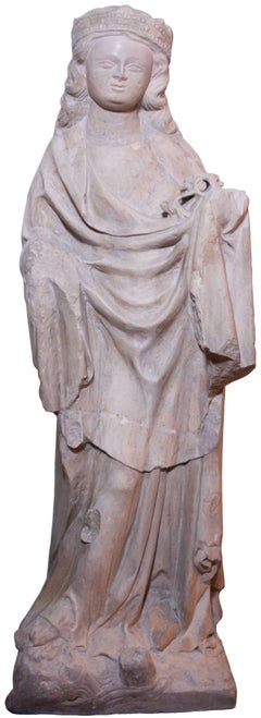 Limestone statue of St. Catherine, early XIV th century