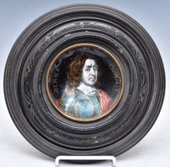 Limoges Enamel Portrait of Oliver Cromwell  Late 18th-Early 19th Century