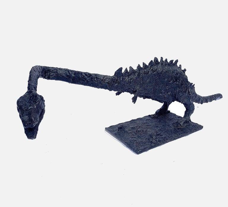 Long Brutalist Steel Dinosaur - Sculpture by Unknown
