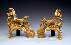 Louis XV-Style Gilt Bronze Chenets With a Poodle and a Hound - a Pair