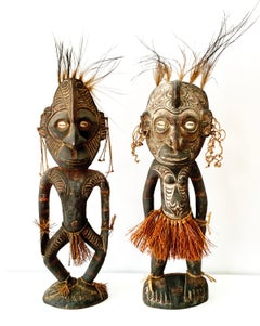 Male and Female Ancestor Spirit Figures, Sepik River, Papua New Guinea