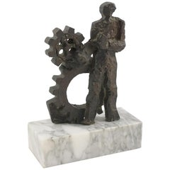 Man and Machine, 1970s Brutalist Bronze Sculpture on Marble Base