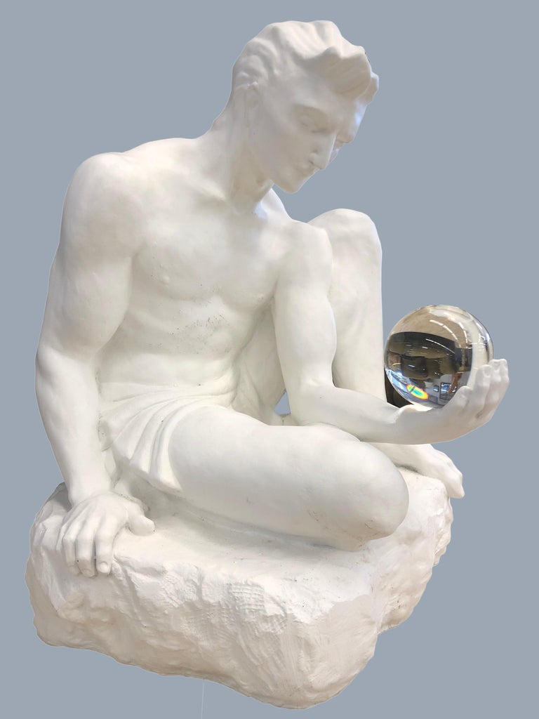 Unknown Figurative Sculpture - Man With A Crystal Ball In His Hand