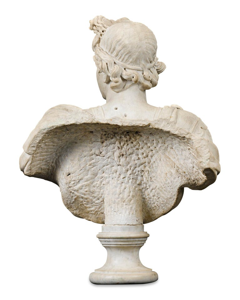 Marble Bust of Apollo - Beige Figurative Sculpture by Unknown