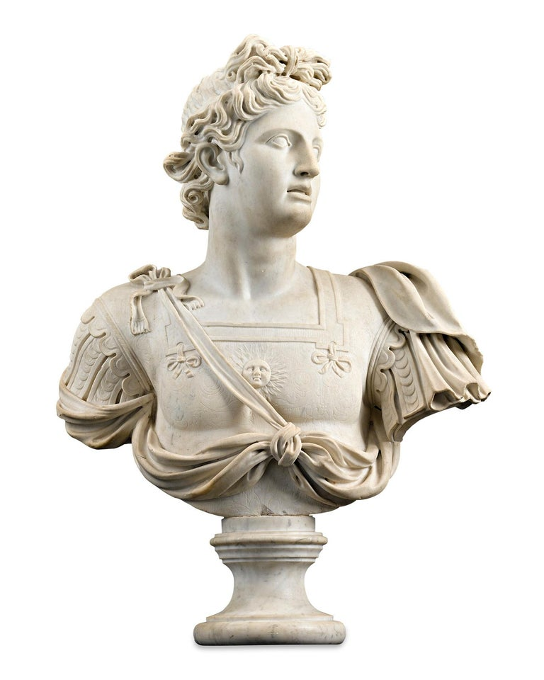 Unknown Figurative Sculpture - Marble Bust of Apollo