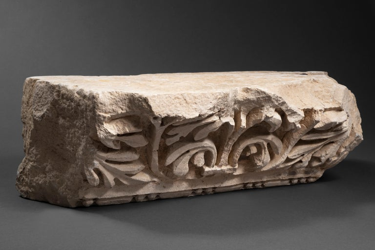 """Unknown Abstract Sculpture - Marble Relief achantus leaves """"pulvino"""" Roman Empire 2nd Century AD"""