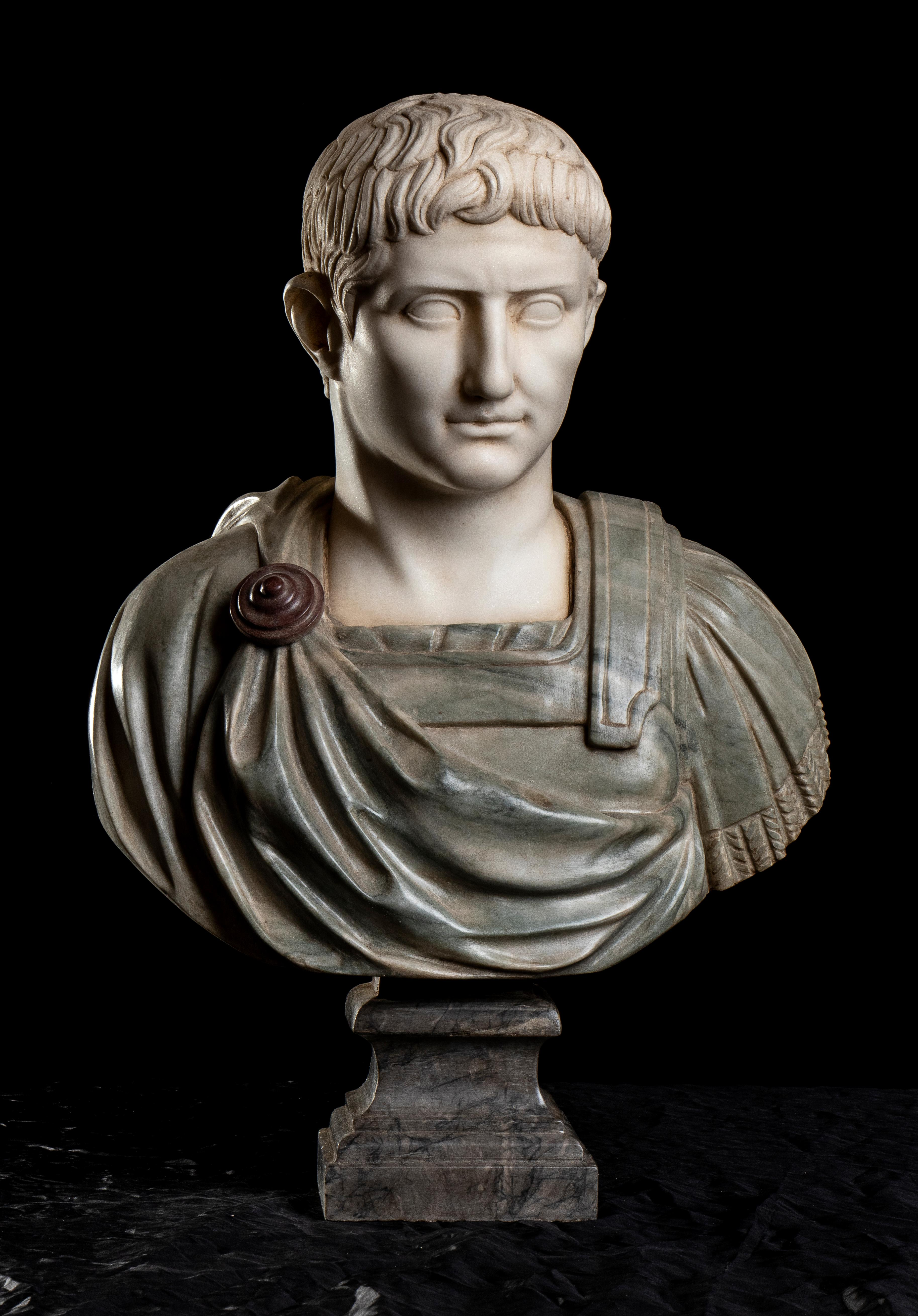 Marble Sculpture Bust Of Emperor Caesar Augustus After The Antique Grand Tour