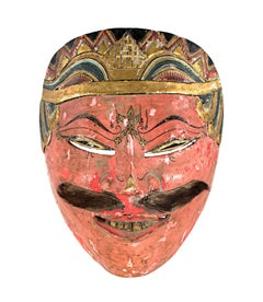 """""""Mask with Salmon-Colored Face and Slanted Eyes,"""" Wood & Fur Mustache, Indonesia"""