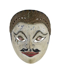 """""""Mask with White Face, Round Eyes, and Painted Mustache,"""" Wood from Indonesia"""