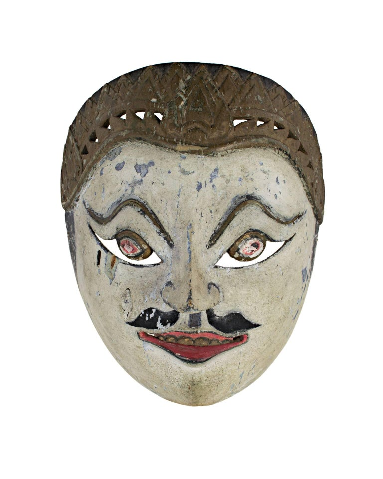 """""""Mask with White Face, Round Eyes, and Painted Mustache,"""" Wood from Indonesia - Sculpture by Unknown"""