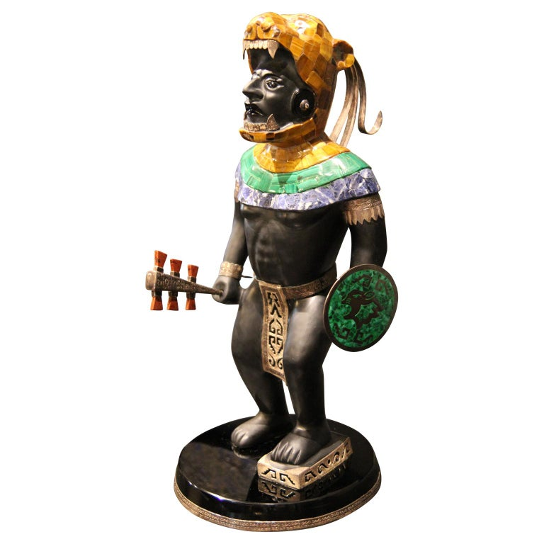 Mayan or Aztec Warrior Sculpture with Lapis, Tiger Eye and Malachite Inlay  For Sale 1