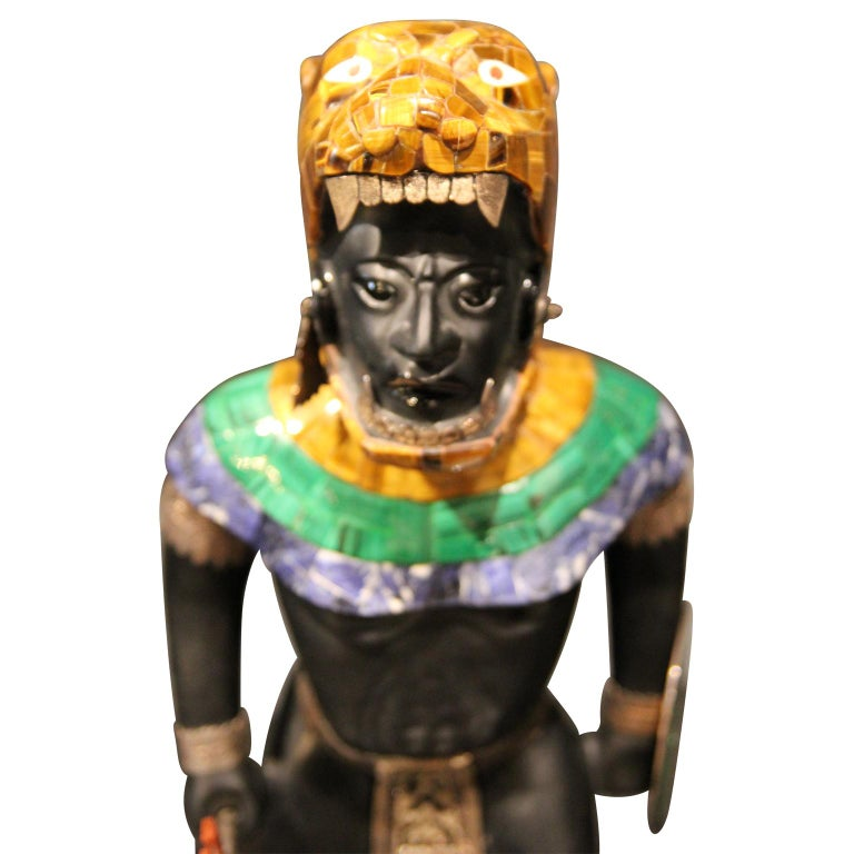 Mayan or Aztec Warrior Sculpture with Lapis, Tiger Eye and Malachite Inlay  For Sale 5