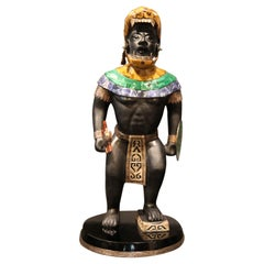 Mayan or Aztec Warrior Sculpture with Lapis, Tiger Eye and Malachite Inlay