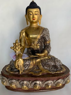 Medicine Buddha Statue 9.5 Inch with 24 Gold Handcrafted by Lost Wax Process