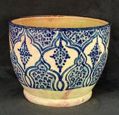 Mexican Talavera Poblana Ceramic: Tall bowl with Moorish-inspired designs
