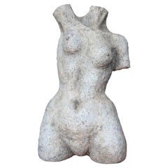 Modern Abstract Nude Female Terracotta Torso Figurative Sculpture