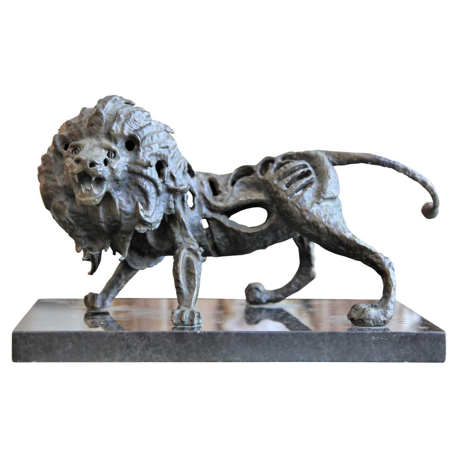 Modern Bronze Abstract Skeletal Lion Animal Sculpture