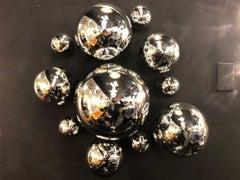 Modernist Handblown Spherical Mercury Glass Wall Sculpture