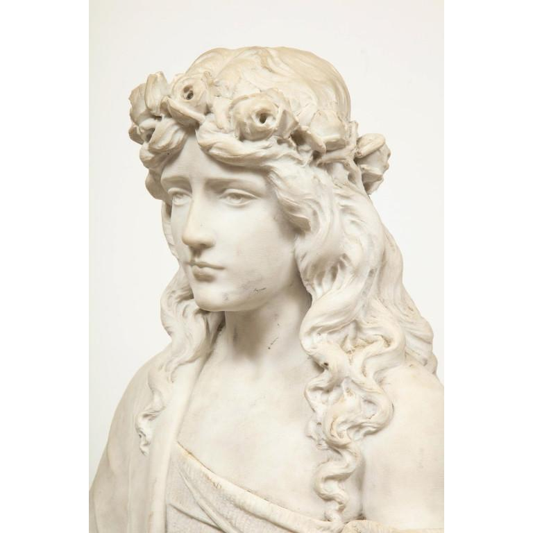 Monumental Italian White Marble Figure Sculpture of a Seated Winged Woman, 1870 For Sale 8