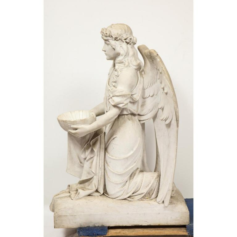 Monumental Italian White Marble Figure Sculpture of a Seated Winged Woman, 1870 For Sale 9