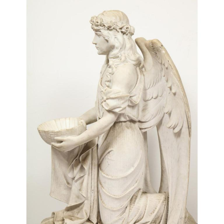 Monumental Italian White Marble Figure Sculpture of a Seated Winged Woman, 1870 For Sale 10