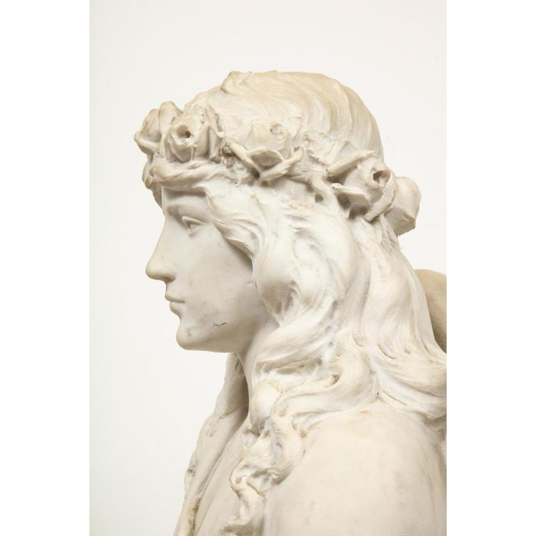 Monumental Italian White Marble Figure Sculpture of a Seated Winged Woman, 1870 For Sale 11