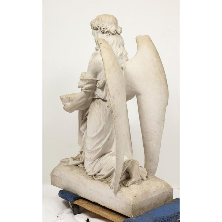 Monumental Italian White Marble Figure Sculpture of a Seated Winged Woman, 1870 For Sale 12