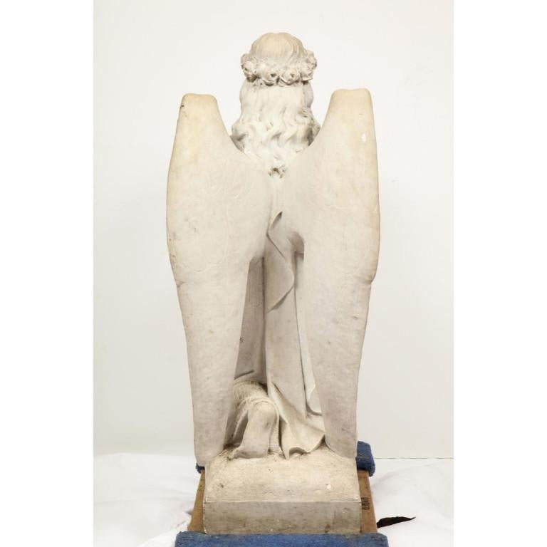 Monumental Italian White Marble Figure Sculpture of a Seated Winged Woman, 1870 For Sale 13