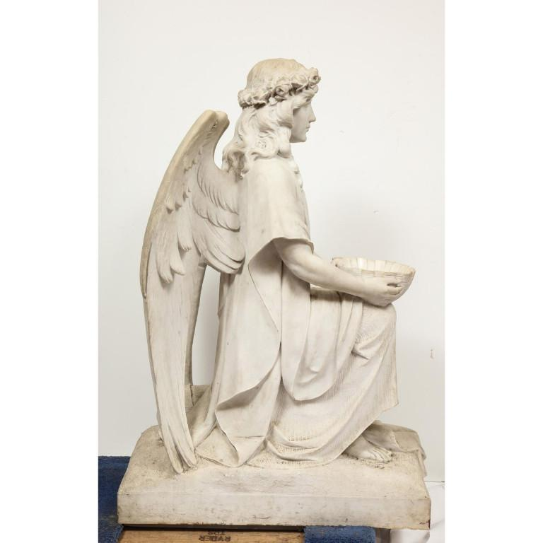 Monumental Italian White Marble Figure Sculpture of a Seated Winged Woman, 1870 For Sale 14